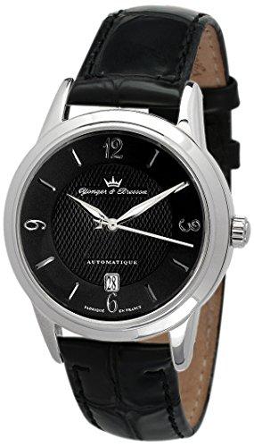 Yonger & Bresson - YBH 8343-01 - La Boissière - Montre Homme - Automatique Analogique - Cadran Noir - Bracelet Cuir No