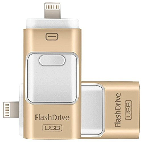 Chiavetta usb flash drive per iphone, per archiviazione dati, da 128 gb, con connettore lightning, memoria esterna di espansione di memoria, per apple ios e computer android oro gold 128 gb