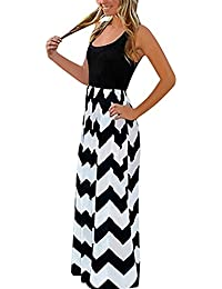 a930af0a385dc Yidarton Women Striped Sleeveless Maxi Summer Long Dresses