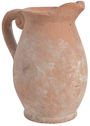 CHICCIE Teracotta Vase Mit Griff 22 cm Braun Grau - Bodenvasen Blumenvasen Tischvasen Tonkrug Gartenvase Krug