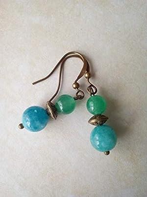 Boucles d'oreilles pendantes en pierres naturelles d'aigue-marine et aventurine, perle tibétaine couleur bronze