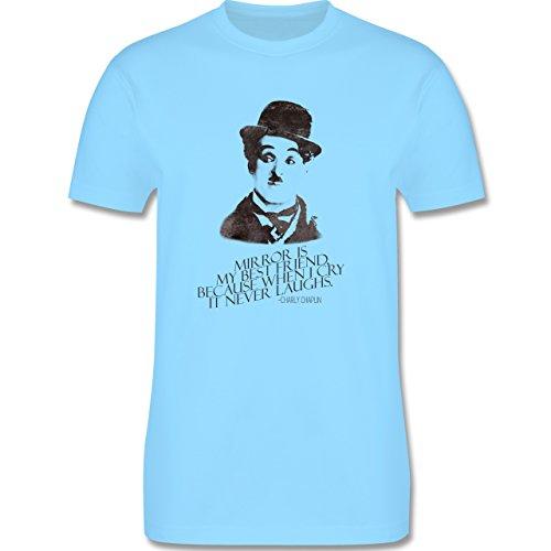 Vintage - Charlie Chaplin - mirror is my best friend - Herren Premium T-Shirt Hellblau