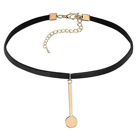 Gnzoe Schmuck Damen Choker Tattoo Halskette Leder Halsband Form Anhänger Choker Halskette Gold Schwarz 32.5+7CM