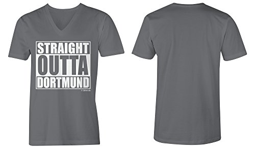Straight Outta Dortmund ★ V-Neck T-Shirt Männer-Herren ★ hochwertig bedruckt (06) dunkelgrau