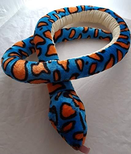 PIA International Stofftier Schlange, 195 cm, blau orange, Kuscheltier, Plüschtier, Schlangen