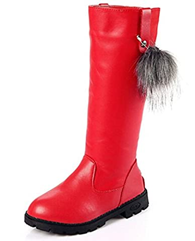 DADAWEN Girl's Faux Leather Fur Lined Knee High Riding Boots (Toddler/Little Kid/Big Kid) Red 13 Child UK