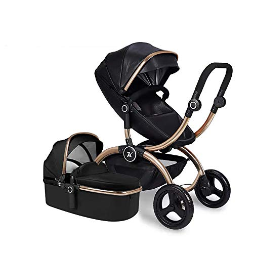 Baby Stroller,Babyfond-Kuddy High Landscape Two-Way Lightweight Folding Pushchair,Travel System PU Leather Sleeping Bassinet Hand-held Safe Seat for Newborn(Black)