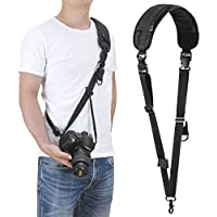 Camera Shoulder Neck Strap, waka Rapid Sling Camera Strap Quick Release with Safety Tether Adjustable Belt for All DSLR Camera Canon Nikon Sony Olympus, Black