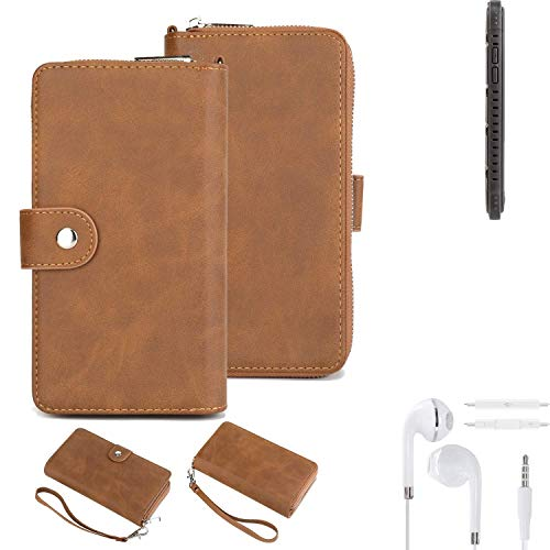 K-S-Trade® Handy-Schutz-Hülle Für -Cyrus CS 35- + Kopfhörer Portemonnee Tasche Wallet-Case Bookstyle-Etui Braun (1x)