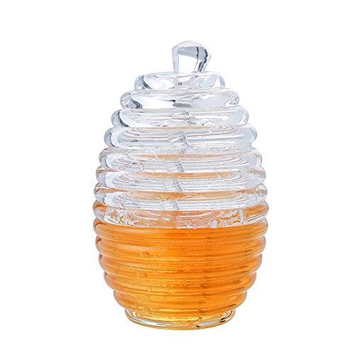 Honigglas mit Schöpflöffel, Acryl Honigstab und Topf Glas Honig Halter bpa frei - 265ml