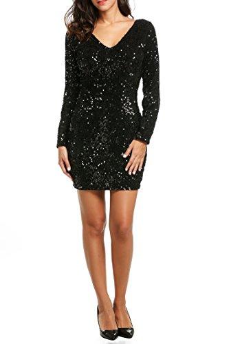 CRAVOG 2017 Mode Sexy Robe Moulante Courte Sequine Mini robe Col V Manche Longue Mini Dress Paillette Bling Bling Pour Cocktail , Soirée, Club Noir