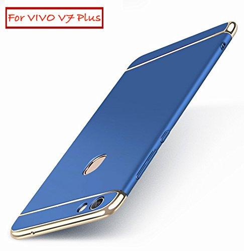 AEETZ® VIVO V7 Plus Back Cover, V7 Plus Case, Ultra-thin 3in1 Eventual Series New Luxury 360 Degree Protection Back Cover Case For Vivo V7 Plus - Blue With Gold