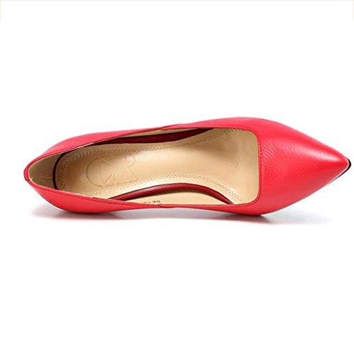 W&LM Mme talons hauts sandales pointe chaussures simples bien chaussures de sport Chaussures peu profondes de la bouche pink