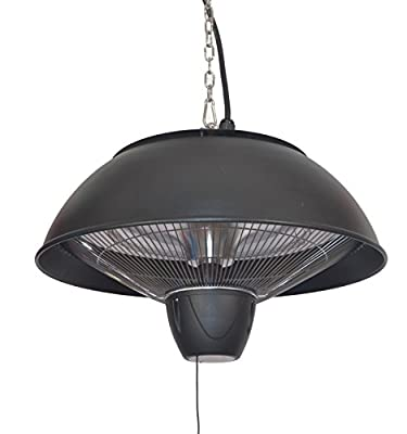 Firefly 2.1kW Ceiling Hanging Copper Halogen Bulb Electric Infrared Patio Heater - Three Heat Settings with Remote Contr