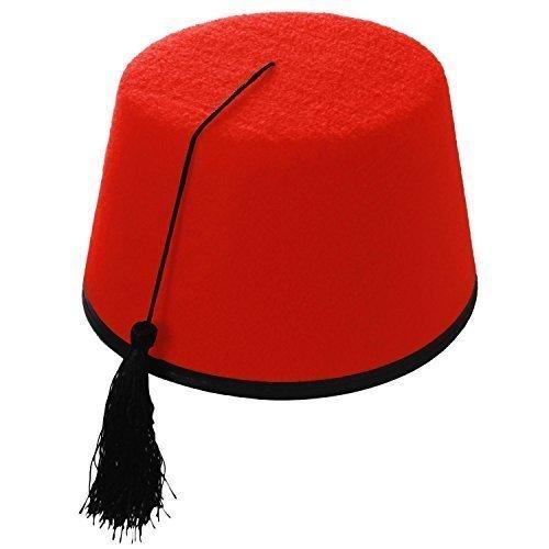 Erwachsene Rot Kostüm Fes Bommelmütze (Türkisch / Marokkanisch / Tommy Cooper Style)