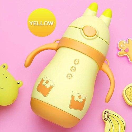 Baby Thermo Cup Kaninchen Edelstahl Kid isoliert Thermos Flasche für Wasser Kleinkind Thermo Tasse mit Stroh Isolierflasche Tumbler, gelb