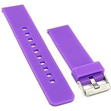 22mm correa silicona , EL-move 22MM Silicona Banda Correas Brazalete de Pulsera para Pebble Time / Gear S3 Classic / Gear2(Purple)