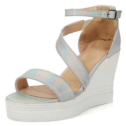TAOFFEN Femmes Compensees Sandales Mode Plateforme Bout Ouvert Sangle De Cheville Chaussures Argent