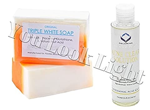 (GC3) Kojic Acid, Placenta, & Glutathione Triple White Soap + Relumins Medicated Professional Acne Clear Solution/Toner With Acne Fighting Botanicals