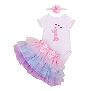 BabyPreg Baby Girls 1st Birthday Tutu with Headband Set