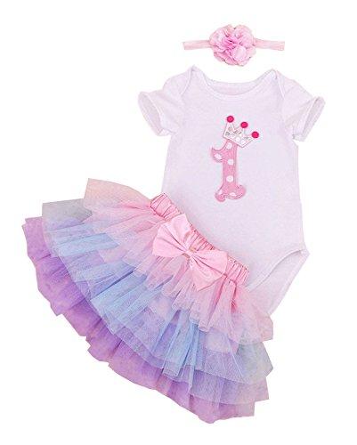 Alt 1 Baby-mädchen Jahr Kleider (BabyPreg Baby Mädchen 1. Geburtstag Tutu mit Stirnband Set (L / 9-12 Monate, Púrpura Rosa))