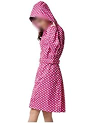 Babysbreath Mujeres de gran tamaño Poncho fino Impermeable largo impermeable delgado Capa de lluvia adultos con cinturón Rosa