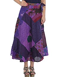 Exotic India Wrap-Around Long Skirt With Printed Patch-work
