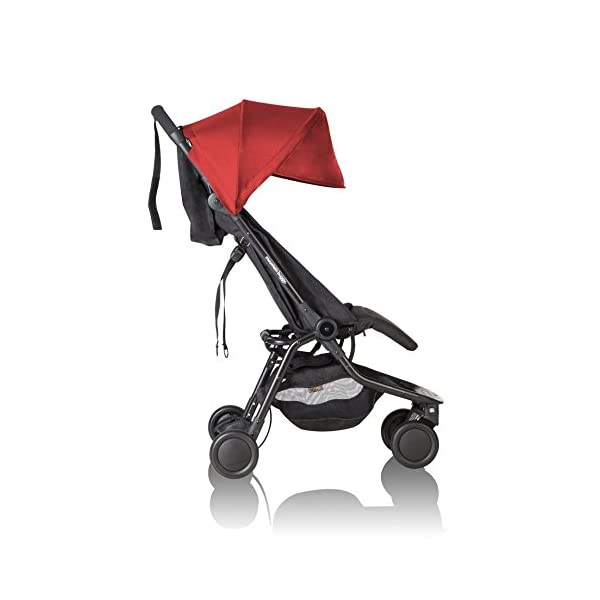 """Mountain Buggy Nano V2 - Ruby Mountain Buggy Ultra compact size at just 54cm/22"""" wide and with a compact fold down size of 54cm/22"""" (w) x 30cm/12"""" (d) x 51.5cm/20"""" (h): nano fits inside its own custom made satchel and is now: even more airline ready. Ultra Leight weighing in at 5.9kg / 13lbs: nano meets the standard weight restriction for carry on luggage on planes Full Lie Flat Solution for newborn - adaptability with the use of the soft shell cocoon carrycot (an additional accessory) 3"""