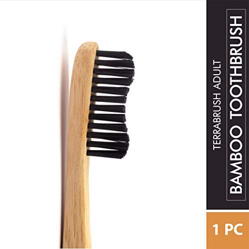Terrabrush Adult Bamboo Toothbrushes Soft Plastic Free Black Bristles