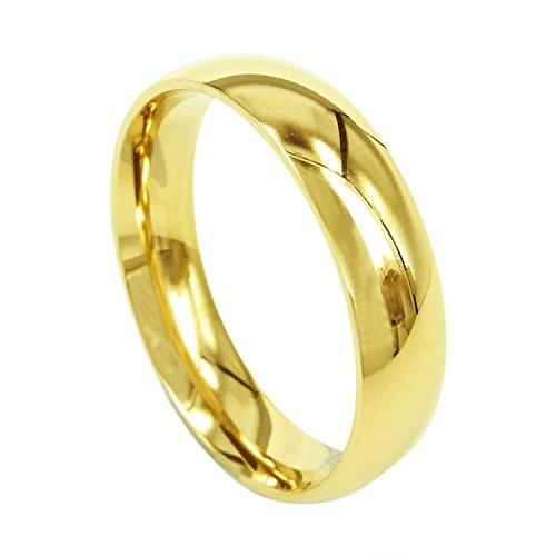 Everstone Damen-Ring Titan , Herren-Ring Titan , Freundschaftsringe , Hochzeitsringe , Eheringe, Farbe Gold, Breite 6mm Größe 60 (19.1)
