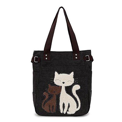 ShopINess Bolso tote con bordado de gato (Gris Oscuro)