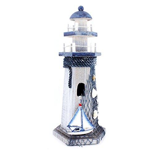 Segelboot Holz Leuchtturm 26,9cm Nautical Themed Zimmer Hohe Leuchtturm