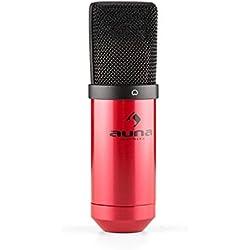 auna MIC-900-WH micrófono de condensador USB (Plug & Play compatible PC y Mac, soporte de araña, cable USB, iluminación LED) - blanco
