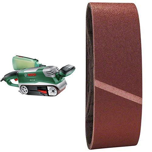 Bosch Bandschleifer PBS 75 AE Set (750 Watt, im Koffer) + Bosch DIY 9tlg. Schleifband-Set (verschiedene Materialien, Körnung 60/80/100)