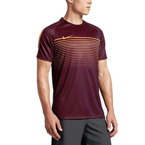 Nike Herren M TOP SS Squad CL Kurzarm Fußball T-Shirt, Nacht-Kastanienfarben/Leuchtendes Zitrus orange, M