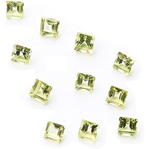 Be You Verde claro Color Natural Chino Peridoto AA Calidad 3 mm Tamaño Facetado Cuadrada Forma Piedra Preciosa