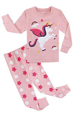 MOMBEBE COSLAND Pijama de Manga Larga para niña Unicornio (Unicornio 2, 10 años)
