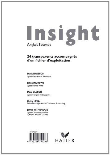 Insight Anglais 2nde, Transparents (24 T Accompagnes d'un Fichier d'Exploitation) par Masson-d+Andrews-J+B