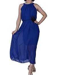 Dayiss®Damen Sommerkleid Chiffonkleid Maxikleid Boho Strandkleid Schulterfrei ärmellos Lang Freizeitkleid 2 Lagen (Blau)