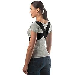 Corrector de Postura Ajustable de aHeal - Corrector Espalda De Hombros Para Hombres y Mujeres - Soporte de Espalda Alivia Dolor y Mejora Postura - Negro, Tamaño 1