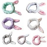 Hübsches Flanell-Haarband für Damen, süßes Mädchen, Make-up-Stirnband, Hasenohren, elastisch blau