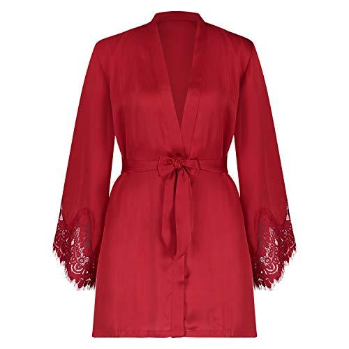 Hunkemöller Damen Kimono Lace Satin XS/S, Tango Red
