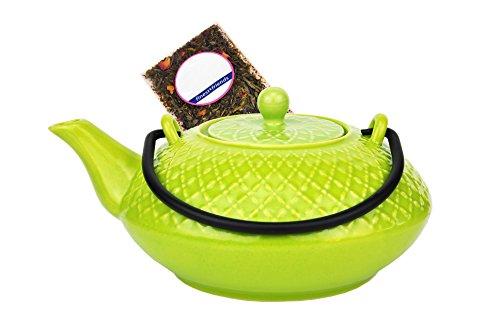 MamboCat Japanische Teekanne Keramik Kumamoto mit Metallhenkel 1,2l hellgrün - Jameson & Tailor 3730 + Teeprobe - Porzellan Gusseisen Gitter