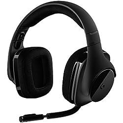 Logitech G533 Casque Gamer sans Fil, Son Surround 7.1 DTS Headphone:X Audio Positionnel 3D, Transducteurs Pro-G 40 mm, Micro Anti-Parasite, 2,4 GHz, Port USB, Poids Ultra-Léger, Batterie 15h, PC/Mac