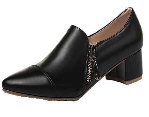 AllhqFashion Mujeres Tacón Medio Sólido Sin Cordones PU Puntera EN Punta Zapatos de Tacón, Negro, 36