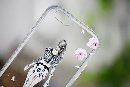 iPhone 6S Plus Hülle, iPhone 6 Plus Hülle, iPhone 6 / 6S Silikon 3D Transparent Case Hülle, SainCat Weiche Kratzfeste Silikon Girl-Serie Muster Hülle Schutzhülle mit Glitter Diamant TPU Bumper Soft Ge Hot pants Mädchen