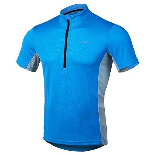 4Ucycling Herren Radtrikot Fahrrad T Shirt Sport Jersey Cycling Radshirt Kurzarm Blau und Grau L