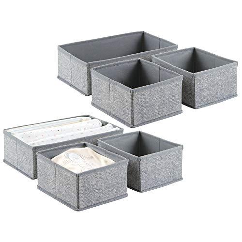 mDesign boîte de rangement (lot de 6) – 6 corbeilles de rangement de 2 dimensions différentes – box de rangement universel pour les accessoires comme couches, serviettes, etc. – gris
