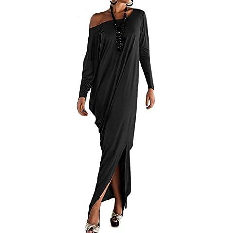 FEITONG Las mujeres ocasionales atractivas del partido flojo de manga larga vestido largo