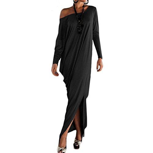 FEITONG Las mujeres ocasionales atractivas del partido flojo de manga larga vestido largo (L, Negro)